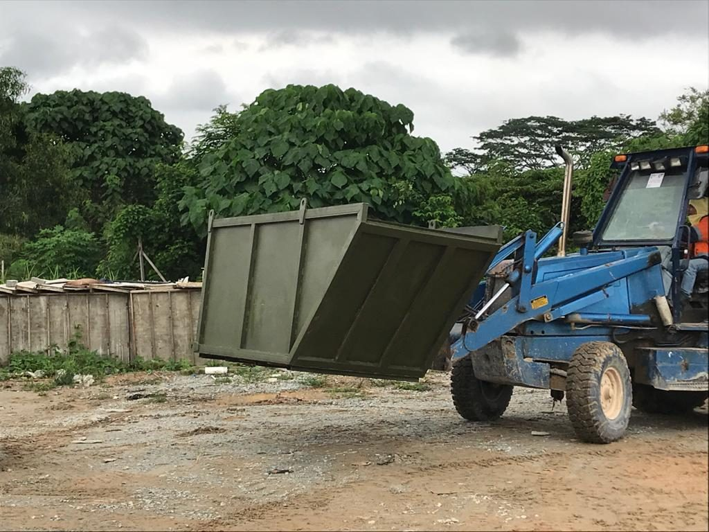 construction heavy duty lifting waste bin at Semenyih, Selangor, Malaysia